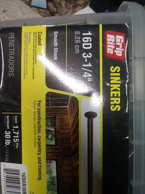 """Sinkers 16d. 3-1/4"""" 30lbs sealed bin for Sale in Spokane, WA"""