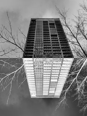 Digital Photo Manipulation of building double negative for Sale in Seattle, WA