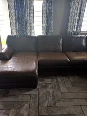 Sectional leather couch with recliner for Sale in Wheatland, CA