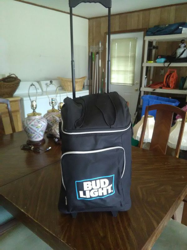 Bud Light travel cooler with carry on grill