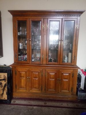 Antique /Solid Oak Wood China Cabinet $125.00 TODAY ONLY NEED GONE for Sale in League City, TX