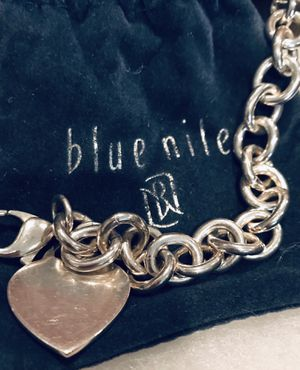 Solid sterling silver heart charm link bracelet for Sale in Silver Spring, MD