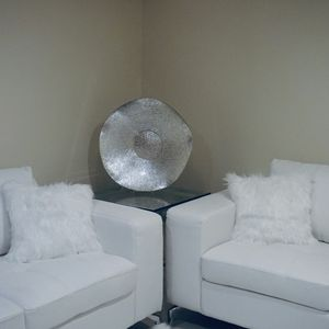 2 White LoveSeat Couch + Matching Ottoman.. Faux Leather Easy Clean for Sale in Chicago, IL