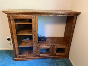 Solid Oak Entertainment Center for Sale in Park Rapids, MN