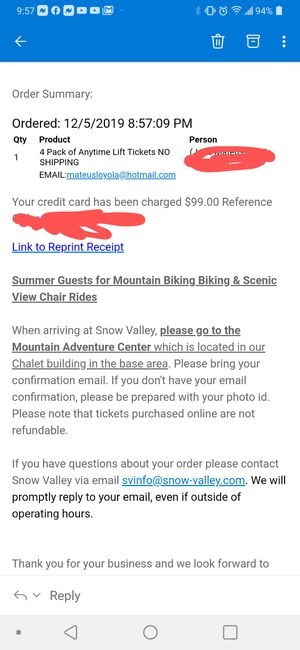 4 lift tickets Snow Valley for Sale in Orange, CA