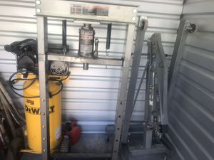 Tools air compressor cherry picker andhidraulic press for Sale in Aurora, CO