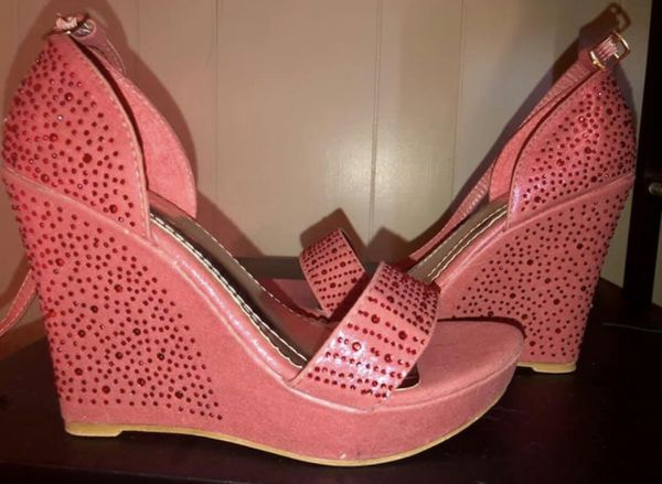 fbad0a9643 Sz 7 - Brand New Shimmer Fuchsia Rhinestone Wedges for Sale in ...