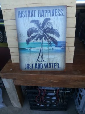 Instant Happiness Beach Tin Sign 12 x15 inches for Sale in San Diego, CA