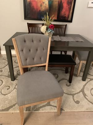 Gorgeous farmhouse dining table with bench and 4 chairs (2 gray tufted chairs)staging furniture for Sale in Peoria, AZ