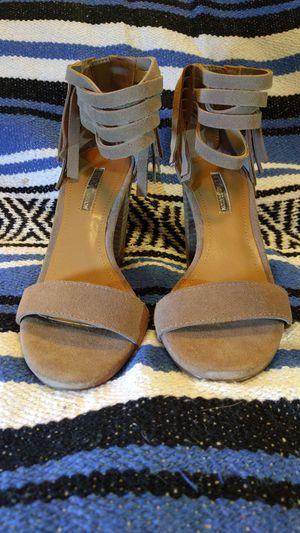Ladies' BCBG beige suede fringe high heels. Size 4.5. for Sale in Swanton, OH