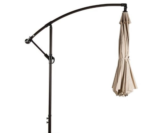 Hanging Umbrella for Patio, Deck or Backyard Collapsible - Hangs over Lawn Patio Furniture with Weighted base - Beige
