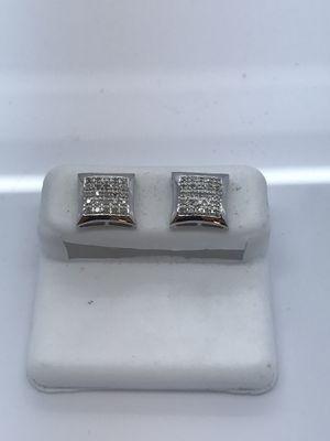 10k white gold earrings with .15 carat diamonds for Sale in Renton, WA