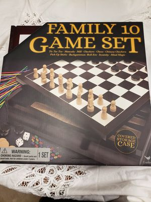 Family 10 Game Set (all games in a wood cabinet) for Sale in Seattle, WA