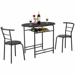 3 Pcs Dining Set Table And 2 Chairs Bistro Pub Furniture-Black HW57334BK N99 for Sale in San Dimas,  CA