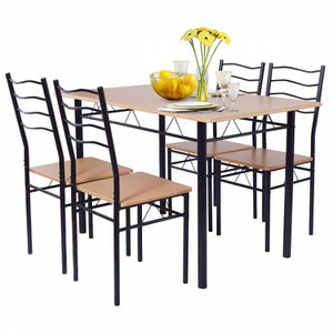 5 pcs Wood Metal Dining Table Set with 4 Chairs for Sale in Chino, CA