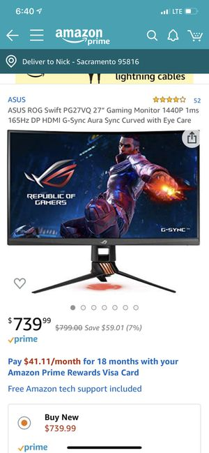 Rog Swift PG27VQ Gaming Monitor for Sale in Sacramento, CA