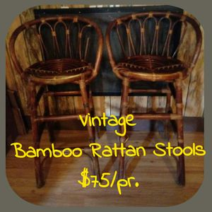 Vintage Bamboo Rattan stools $75 for Sale in Quincy, IL