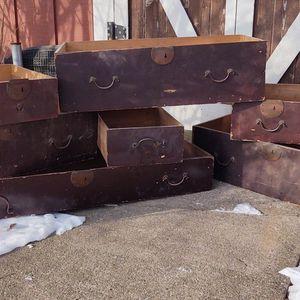Old Brass Dresser Drawers Handmade Primitive With Skeleton Keyhole Locks for Sale in Chisago City, MN