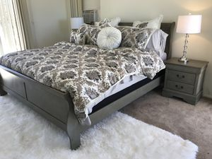 New King or Queen grey bedroom set. Cal or eastern. New Sleigh Bed, dresser, mirror, & NS. $500. Must sell can deliver for Sale in Montclair, CA