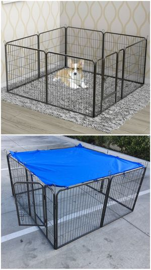 Brand new 32 inch tall x 32 inches wide each panel x 8 panels heavy duty exercise playpen with sun shade tarp cover fence safety gate dog cage crate for Sale in Baldwin Park, CA