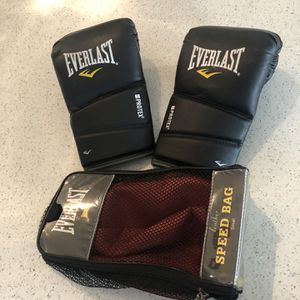 Everlast small speed bag and L/xl boxing gloves for Sale in Newberg, OR
