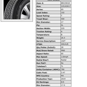 Black Friday Sale On All Major Brands And Sizes! Bridgestone Duel HP Sport AS 225/65/r17- Free Shipping In Miami Dade And Broward Counties for Sale in Hialeah, FL