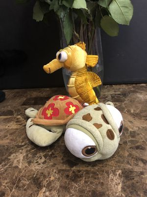 Squirt and Sheldon seahorse from Dory Disney plushies for Sale in Goodyear, AZ