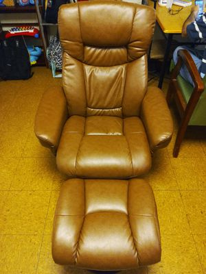 Leather swivel recliner with ottoman for Sale in Columbus, OH