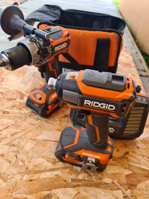 RIDGID 18-Volt Lithium-Ion Cordless Brushless Hammer Drill and Impact Driver 2-Tool Combo Kit for Sale in Snohomish, WA