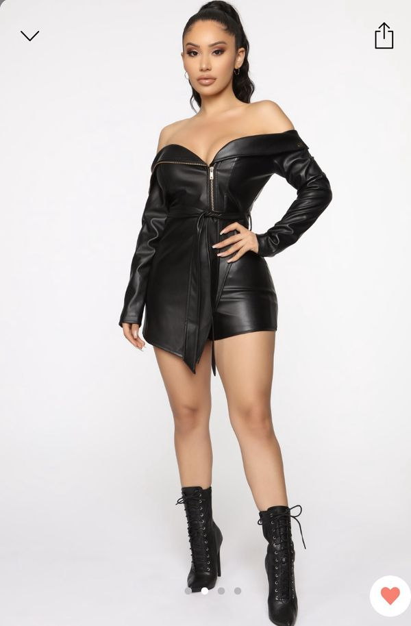 Fashion Nova Leather Romper