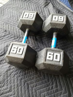 Set of 60Lb Hex Dumbbells. $80 for Sale in Downey, CA