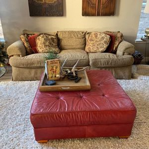 Thomasville- Sofa, Club Chair With Ottoman, Large Leather Ottoman. for Sale in Arvada, CO