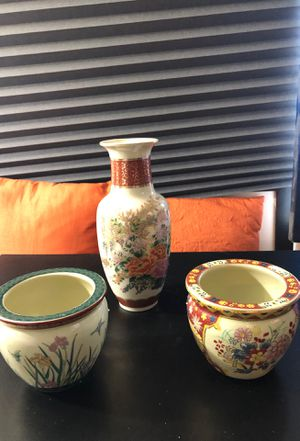 Vase and 2 5 inch Ming dynasty fish bowl planter pot for Sale in Richmond, VA
