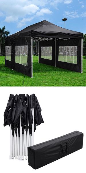 New $200 Heavy-Duty 10x20 Ft Outdoor Ez Pop Up Party Tent Patio Canopy w/Bag & 6 Sidewalls, Black for Sale in Whittier, CA