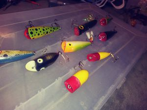 A nice collection of top water bass fishing lures for Sale in Austin, TX