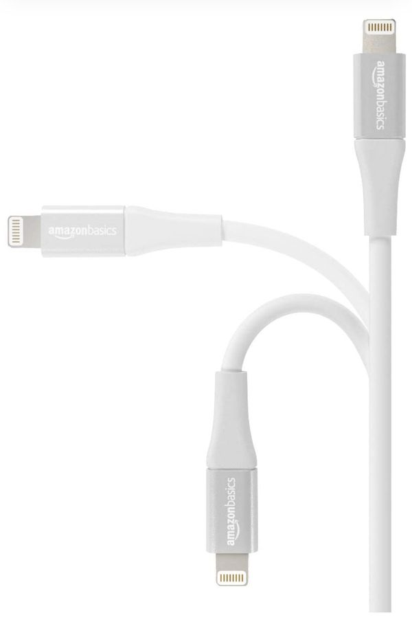 AmazonBasics USB A Cable with Lightning Connector, Premium Collection, MFi Certified Apple iPhone Charger, 4 Inch, 2 Pack, Silver