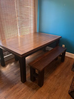 Kitchen Table with 4 wood benches for Sale in Spartanburg, SC