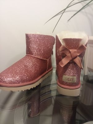 Ugg mini Bailey bow pink glitter sparkle boots women's for Sale in Bensalem, PA