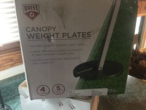 Outdoor-Camper-Shelter-Tent-Canopy-4-Weight-Plate-Pop-Up-Shade-secures against wind. Uses once. These are the 5 pound weights by Quest for Sale in Plainfield, IL