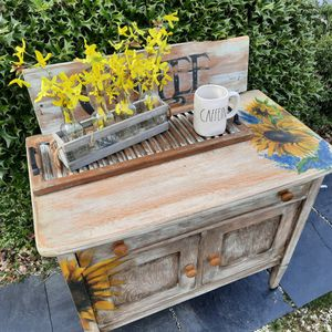 Handpainted Sunflowers Vintage Cabinet Coffee Bar Console Table for Sale in Lillington, NC