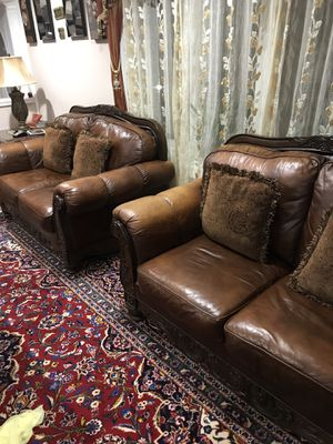 3 leather brown couches and matching coffee table for Sale in Fairfax, VA