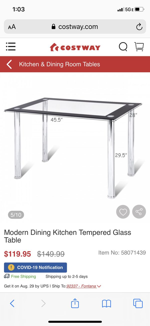 Modern Dining Kitchen Tempered Glass Table with 4 dining chairs