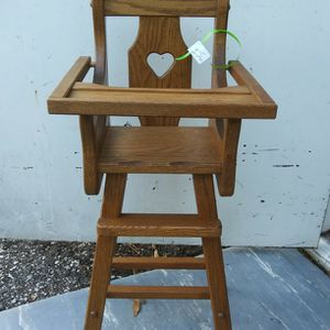 Solid oak wood doll high chair great christmas gift for Sale in St. Petersburg, FL