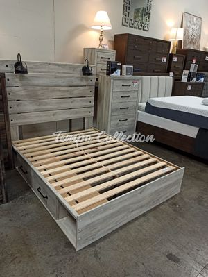 New Queen Storage Bed, Whitewash, SKU# ASHB192QTC for Sale in Santa Fe Springs, CA