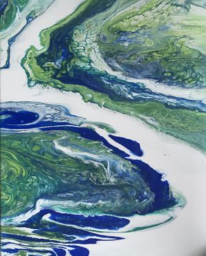 Blue & Green Original Abstract Art Painting for Sale in Olney, MD