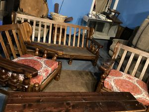 Indoor outdoor oak furniture rocker chair and couch for Sale in Peoria, IL