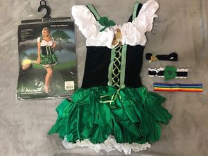 Costume by Dreamgirl (Good Luck Charm) Includes: Peasant top dress Rainbow headband coin neckband Kiss Me clover leg garter Size Small (90 to 120 p for Sale in Menifee, CA