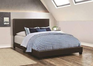 Black king leather bed frame, new in box for Sale in Maryland Heights, MO