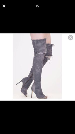 Grey distressed thigh high boots for Sale in Oxon Hill, MD