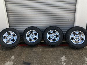 """17"""" KMC chrome rims with tires for Sale in Fort Worth, TX"""